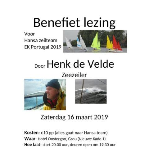 16 maart Benefietlezing Henk de Velde